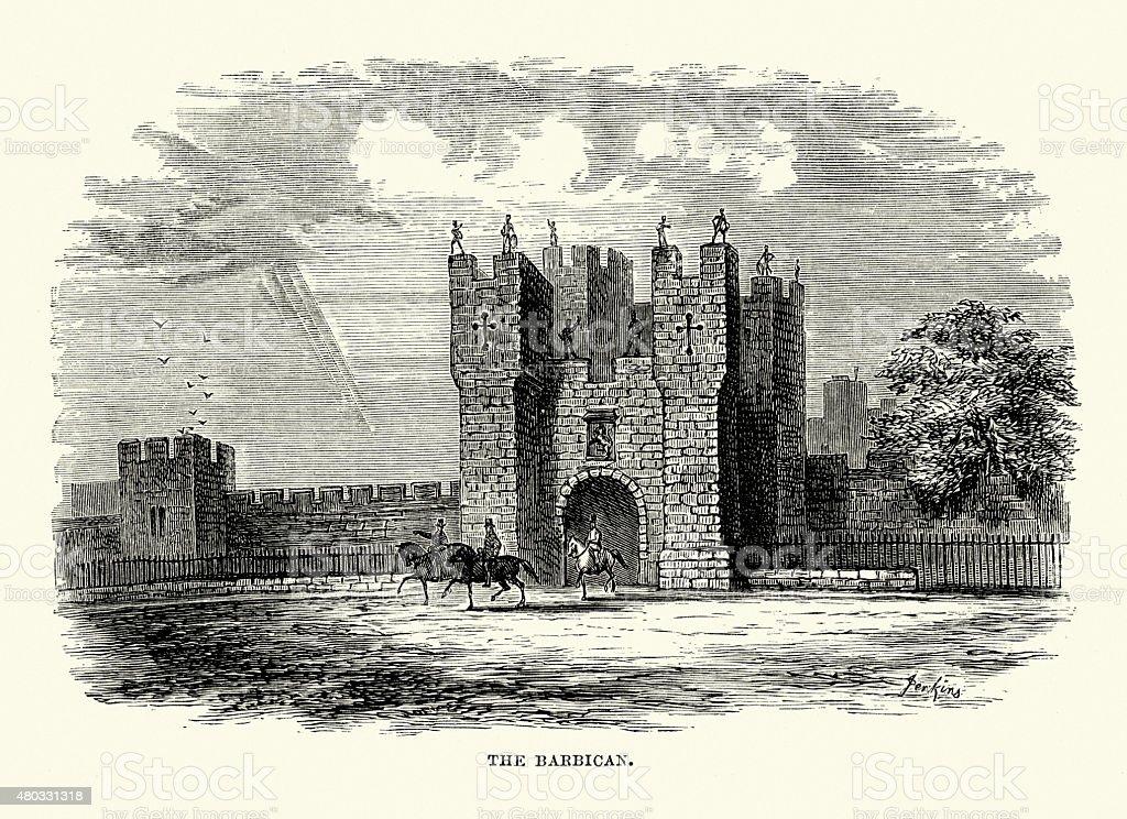 Alnwick Castle - The Barbican vector art illustration