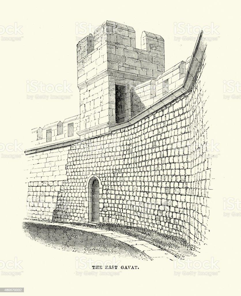 Alnwick Castle - The East Gavat vector art illustration