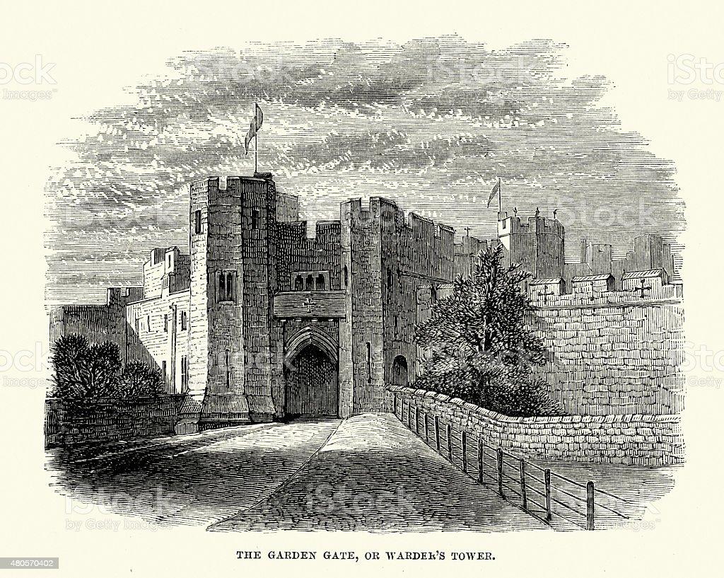 Alnwick Castle - The Garden Gate vector art illustration