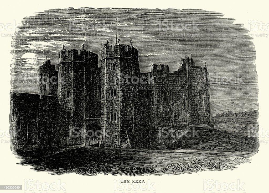 Alnwick Castle - The Keep vector art illustration