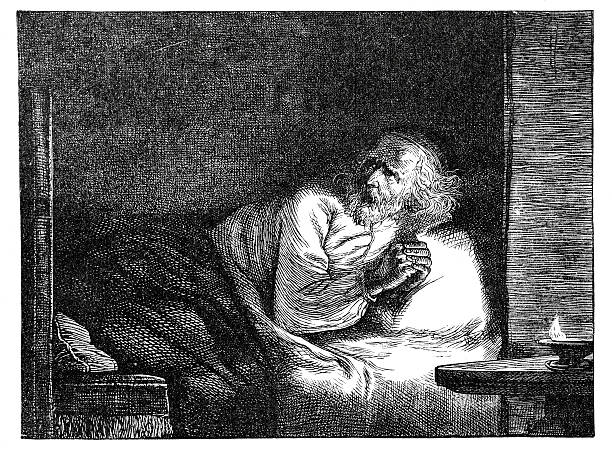alone at night - old man praying picture pictures stock illustrations, clip art, cartoons, & icons
