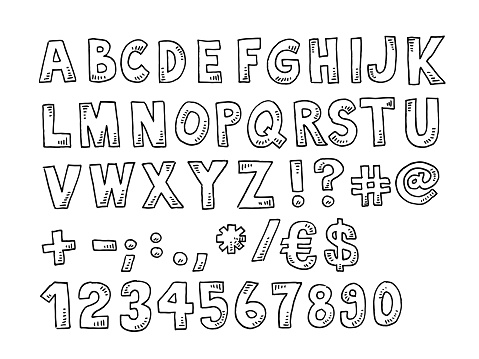 Alphabet And Numbers Set Drawing
