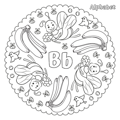 Alphabet B letter coloring page mandala with bees, bananas, birds and balls.