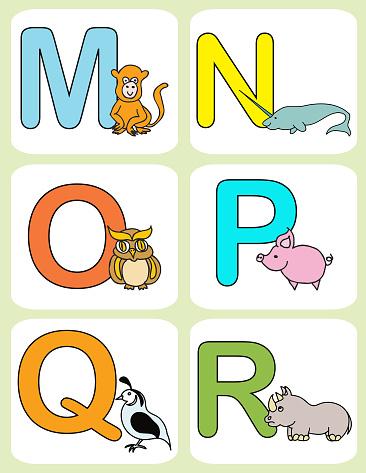 Alphabet baby animals ABC children color flashcards