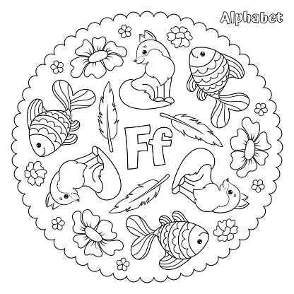 Alphabet F letter coloring page mandala with fox, fish, flower, feather.