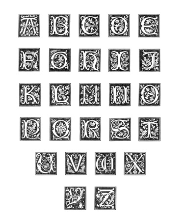 Alphabet from Woodcut Engravings