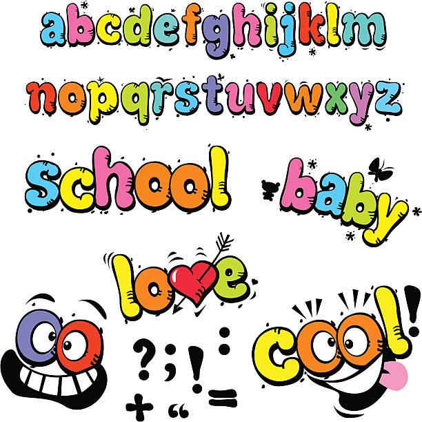 Alphabet-lettres de dessin animé drôle - Illustration vectorielle