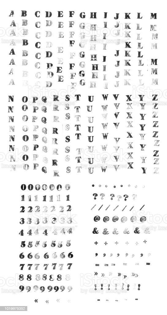 Ilustración de Alfabeto Hecho Con Sello De Goma Set De Letras ...