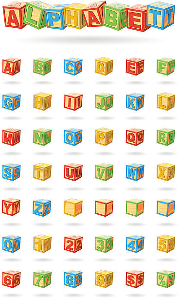 alphabet on a baby cubes - lego stock illustrations