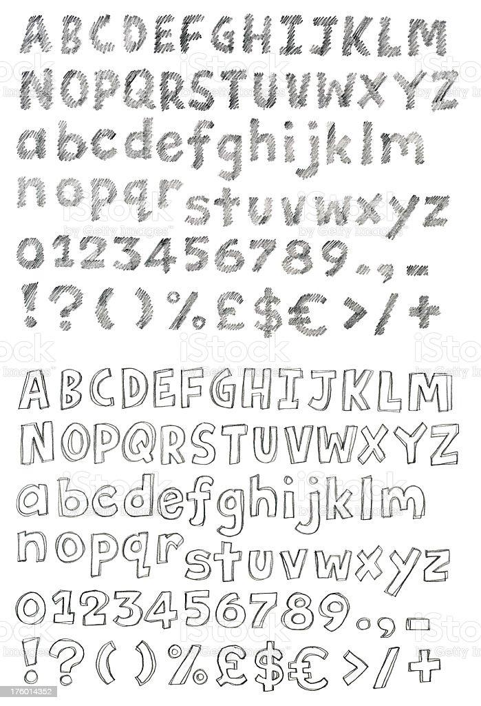 Alphabet Bleistiftzeichnung – Vektorgrafik