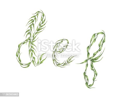 Alphabet set. Alphabet of green leaves with letter d, e, f. isolated on white background. Eco symbol collection. Watercolor illustration.