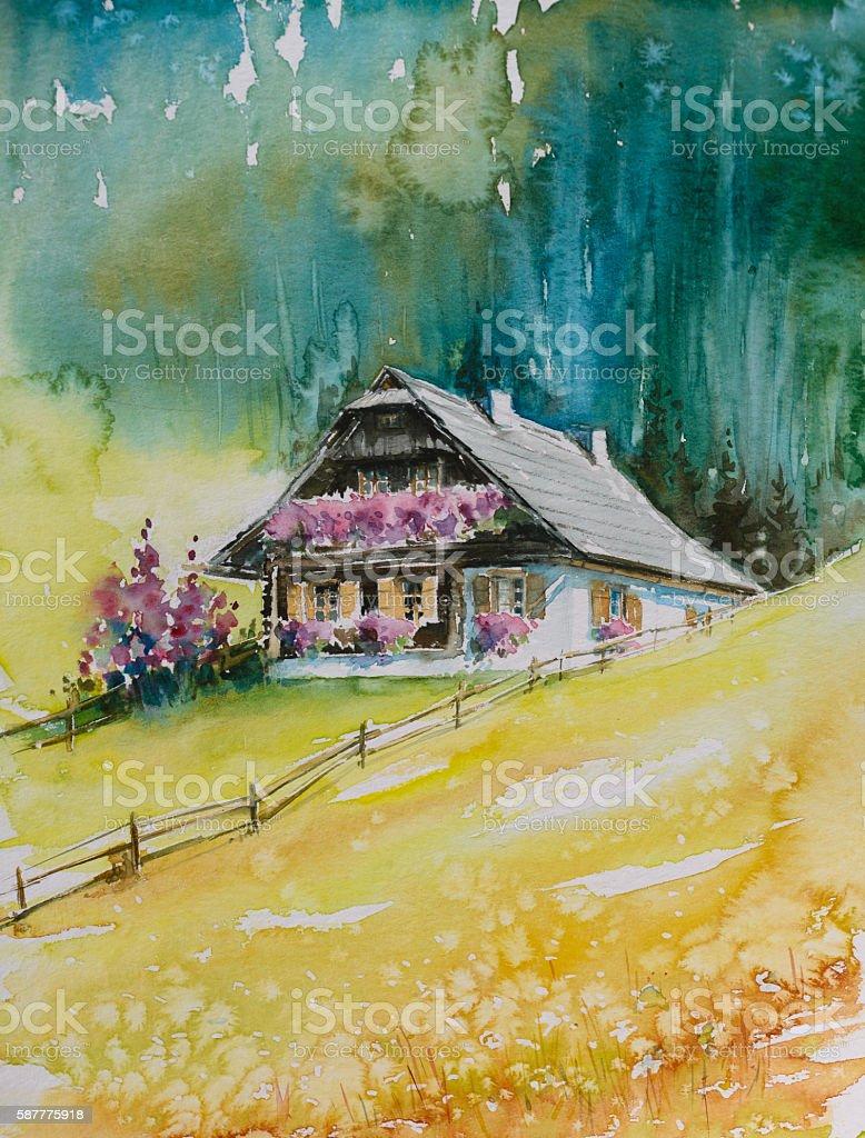 Alpine house vector art illustration