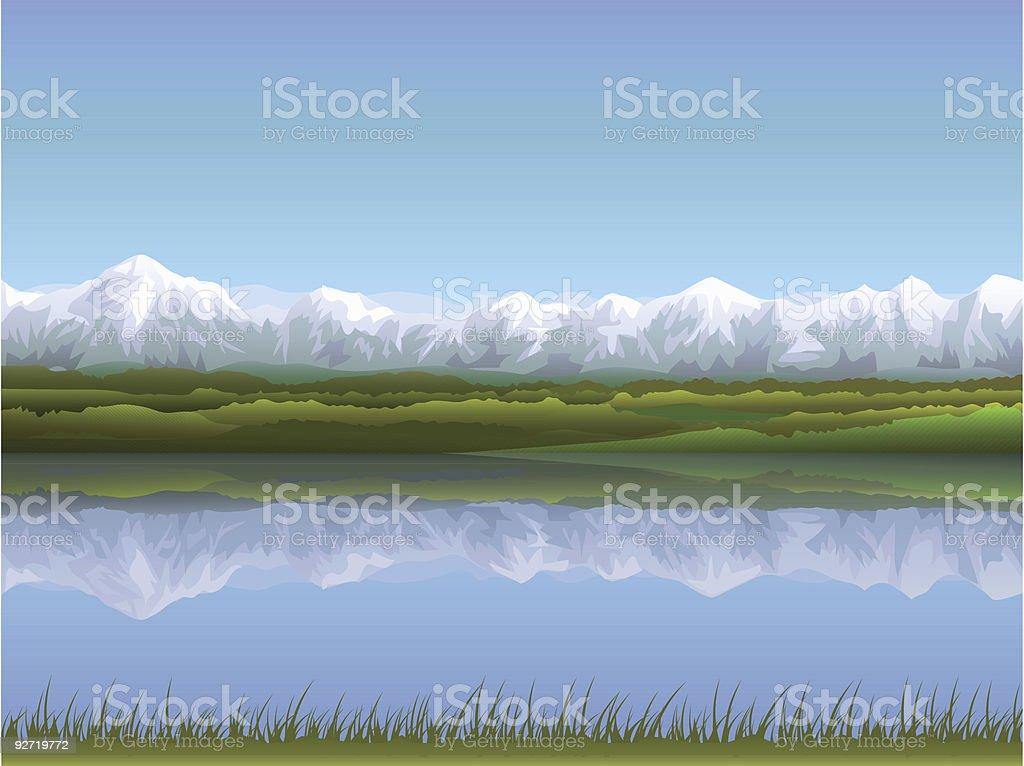 Alpine landscape vector art illustration