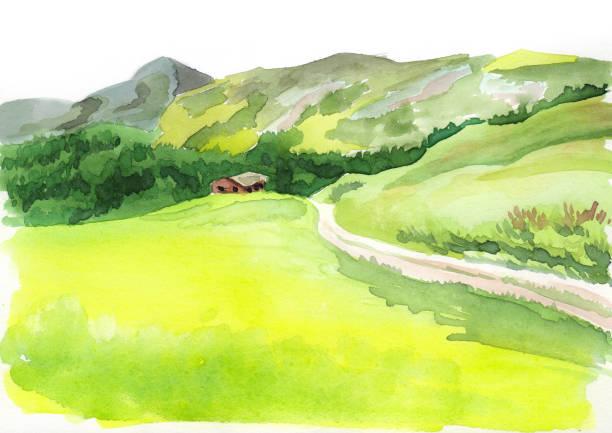illustrazioni stock, clip art, cartoni animati e icone di tendenza di alpine scenery. watercolor illustration - sfondo paesaggi