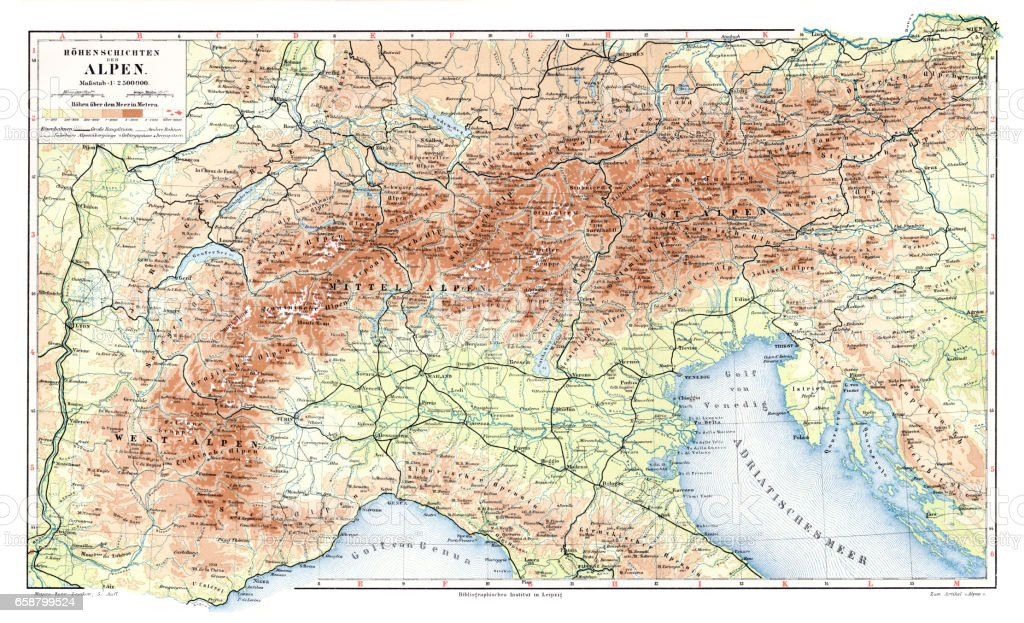 Alps geological map 1895 vector art illustration
