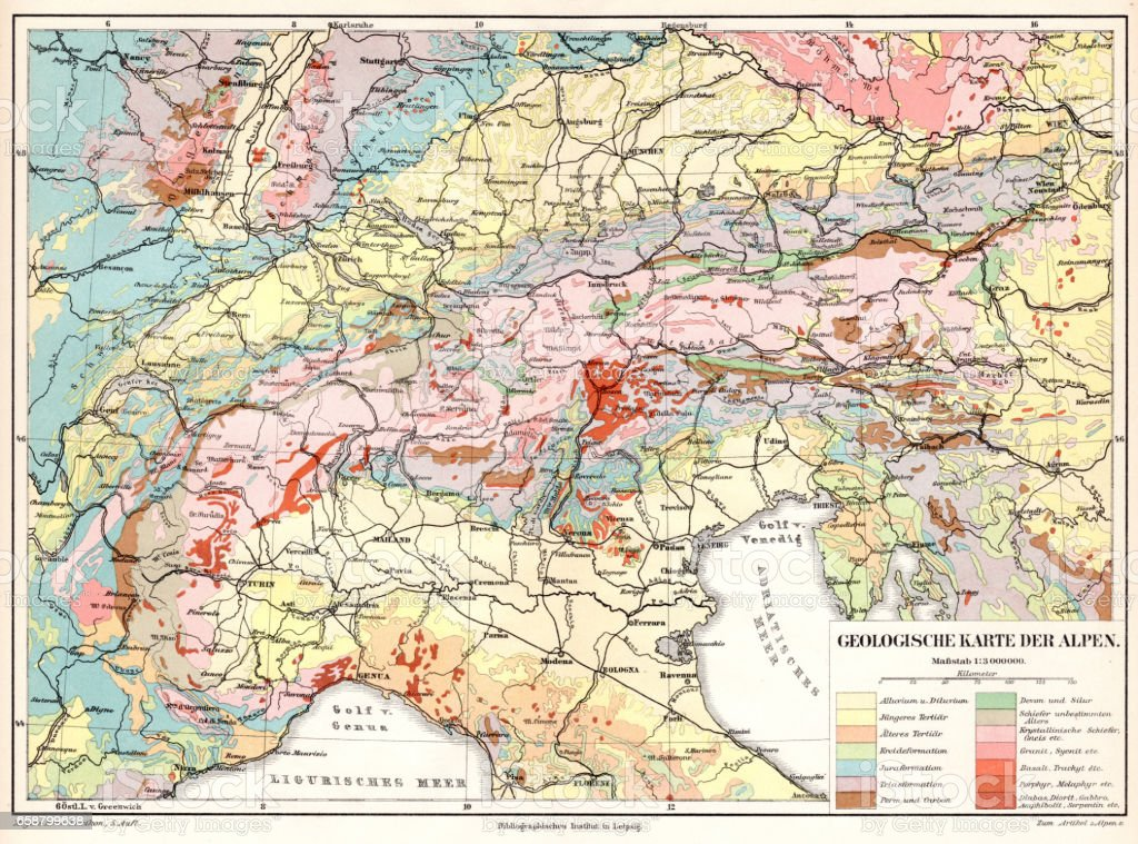 Alps Geological Map 1895 Stock Vector Art & More Images of Antique ...