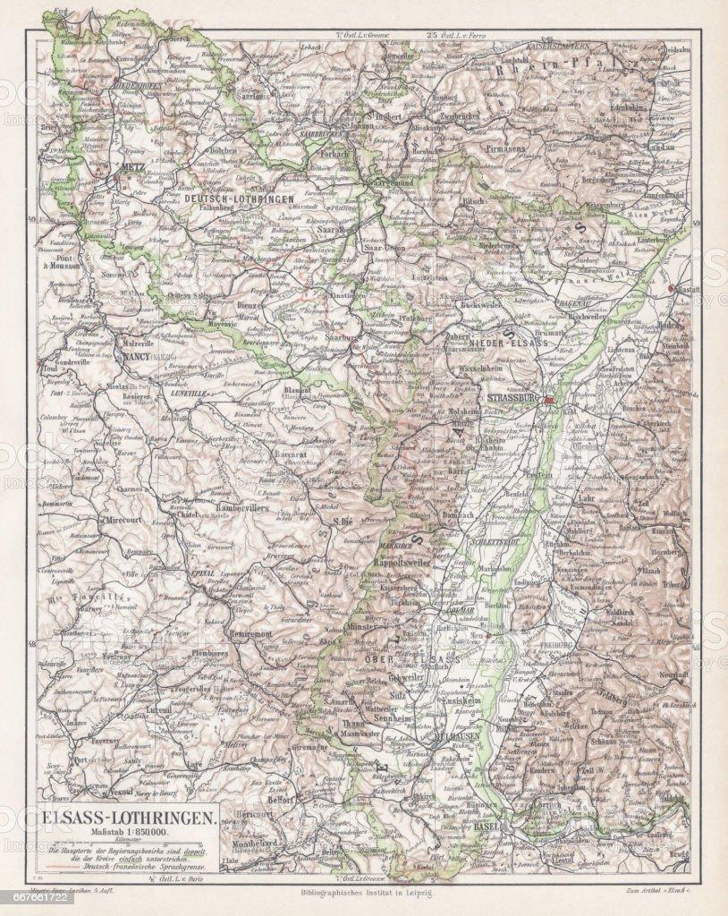 Carte de l'Alsace-Lorraine 1895 - Illustration vectorielle