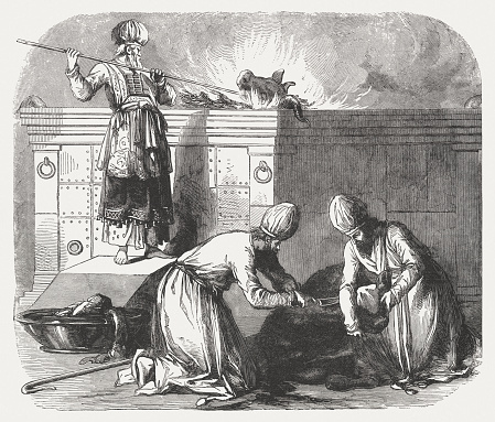 Altar of Burnt Offering (Exodus 29), wood engraving, published 1886