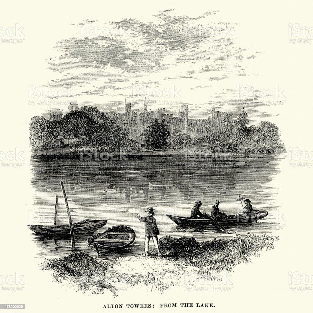 Alton Towers in 1869 vector art illustration