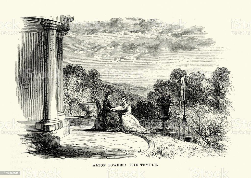 Alton Towers the Temple 1869 vector art illustration