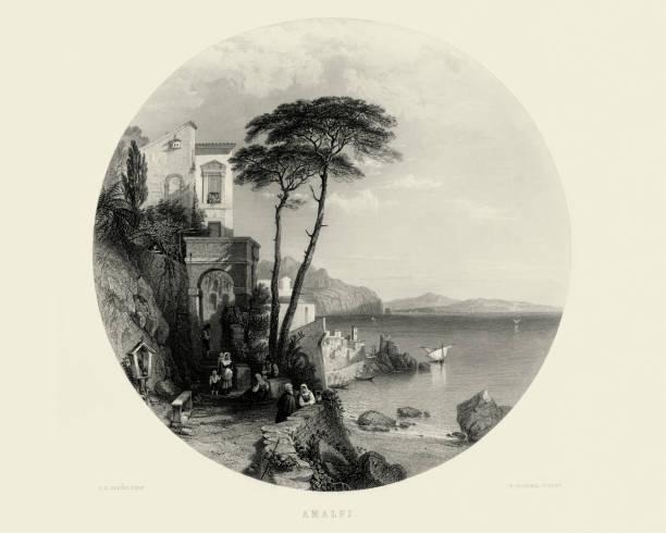 illustrazioni stock, clip art, cartoni animati e icone di tendenza di amalfi di george edwards hering - amalfi