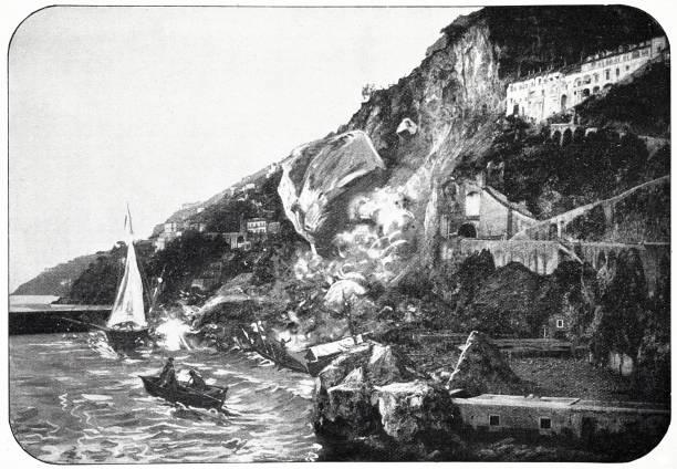 illustrazioni stock, clip art, cartoni animati e icone di tendenza di amalfi during the earthquake on december 22, 1899 - amalfi
