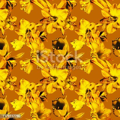 istock Amarylis seamless pattern, floral template. 1173117760