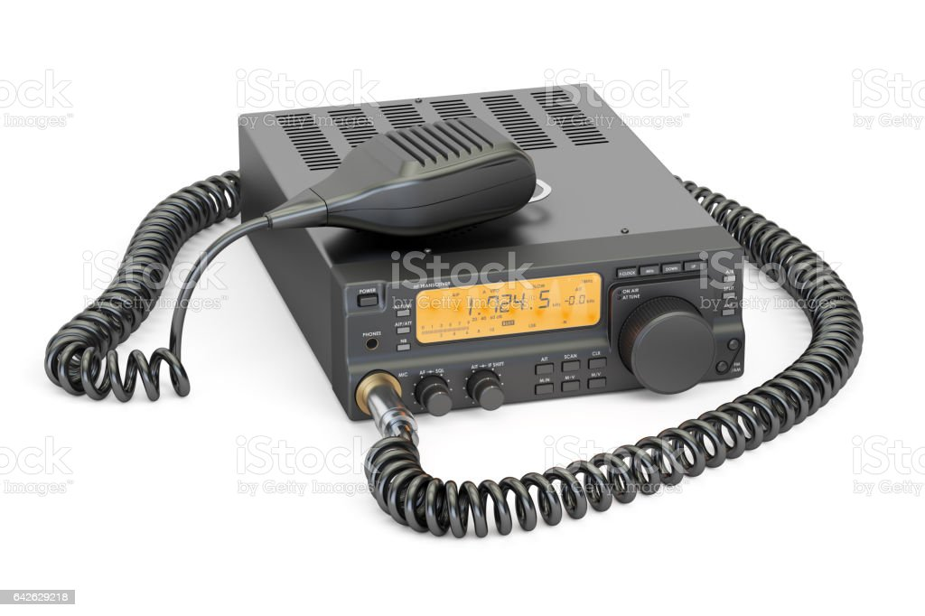 amateur radio transceiver with push-to-talk microphone switch, 3D rendering vector art illustration