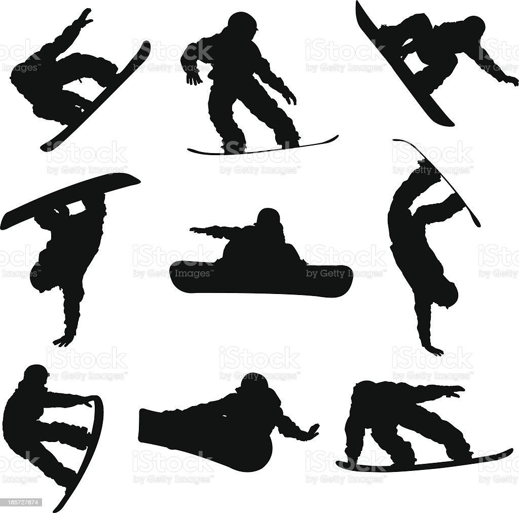 Amazing snowboarding tricks vector art illustration
