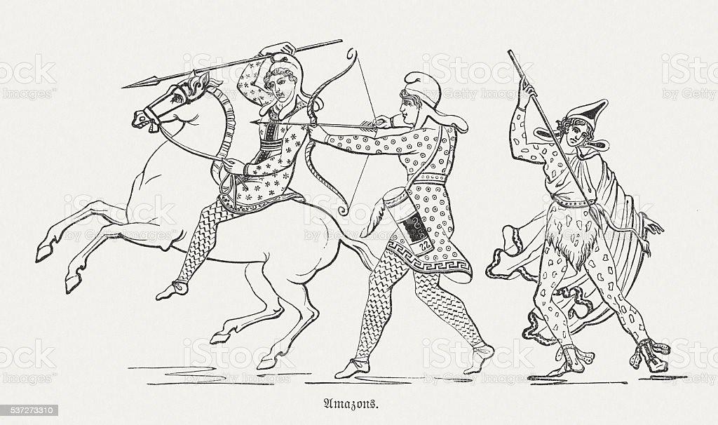 Amazons, Greek mythology, wood engraving, published in 1880 vector art illustration