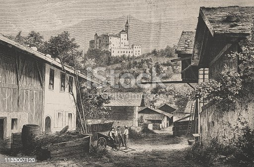 history, vintage, illustration, retro style,  19th Century Style, old, Palace, Ambras, Innsbruck