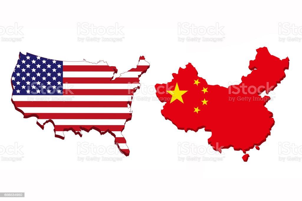 Amerika Und China Flagge Zuordnen Stock Vektor Art und mehr Bilder ...