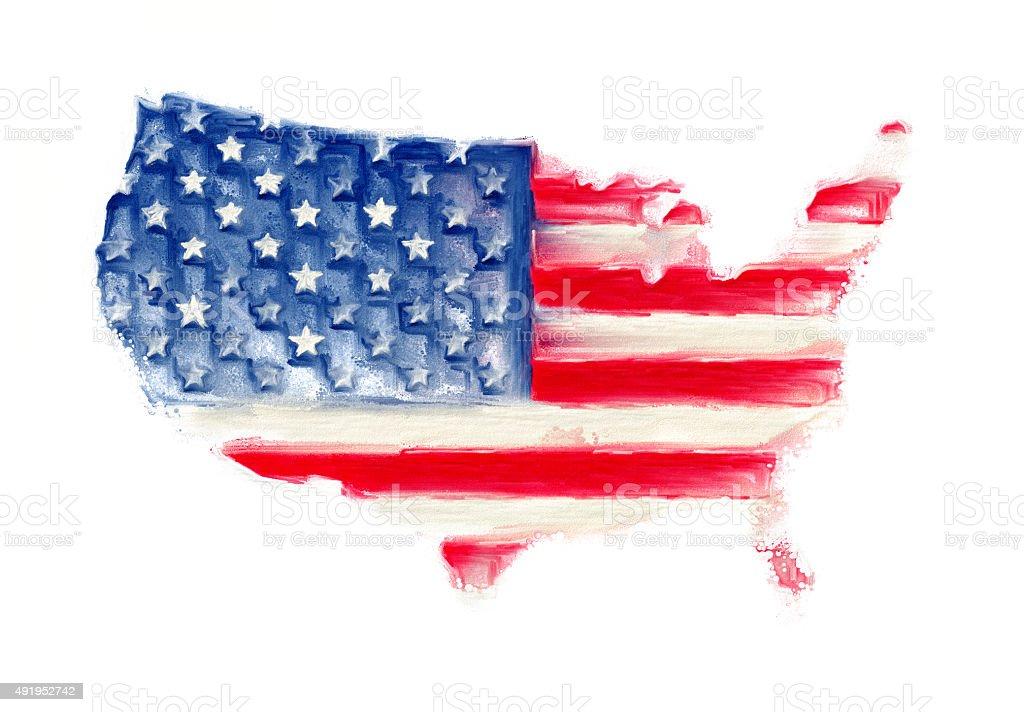 Usa Karte Flagge Amerika Kunst Malereidesign Stock Vektor Art und ...