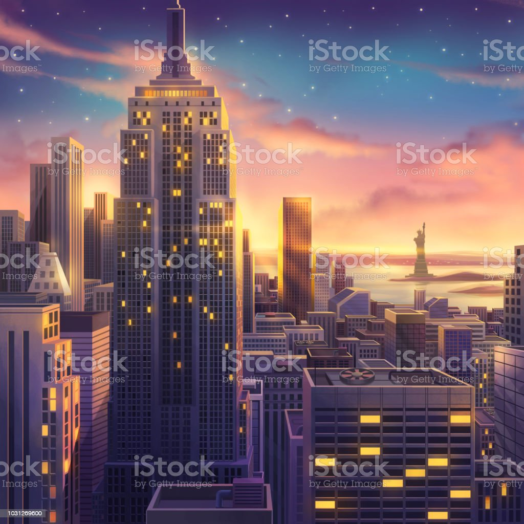 America, USA, New York, Realistic Country City Area Painting Series royalty-free america usa new york realistic country city area painting series stock illustration - download image now