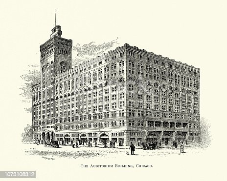 Vintage engraving of Auditorium Building, Chicago, USA, 19th Century. The Auditorium Building in Chicago is one of the best-known designs of Louis Sullivan and Dankmar Adler. Completed in 1889. The building, which when constructed was the largest in the United States and the tallest in Chicago, was designed to be a multi-use complex, including offices, a theater and a hotel.