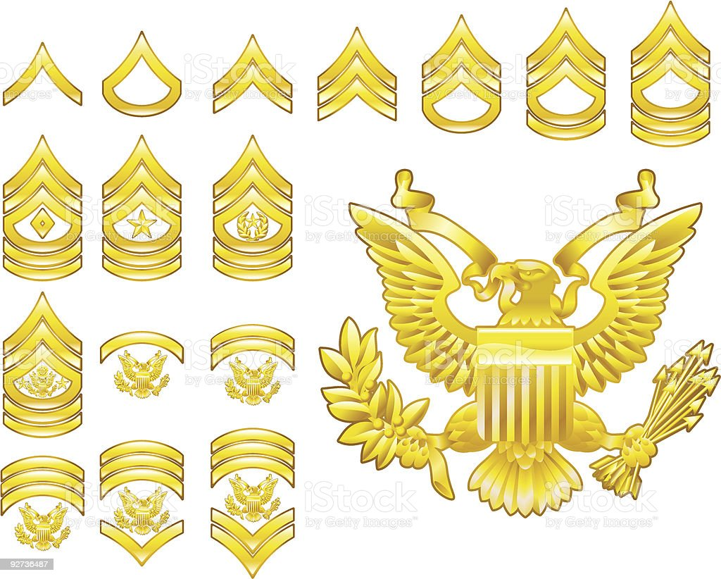american army enlisted rank insignia icons - Royalty-free American Culture stock vector