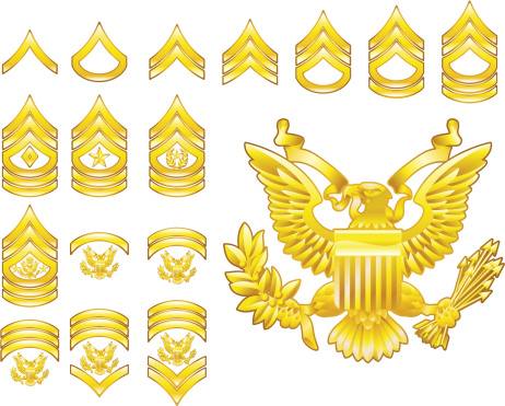 American Army Enlisted Rank Insignia Icons Stock Illustration - Download Image Now