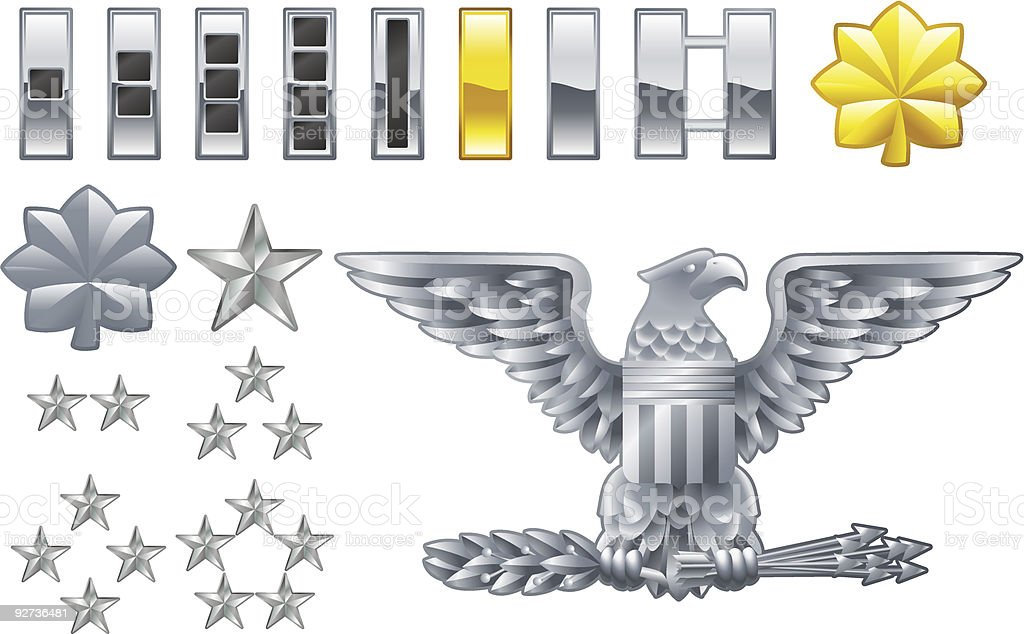 american army officer ranks insignia icons vector art illustration