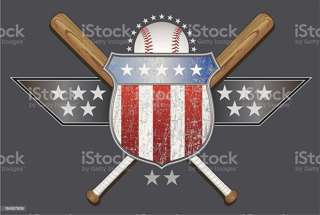 American Baseball Partial vector art illustration