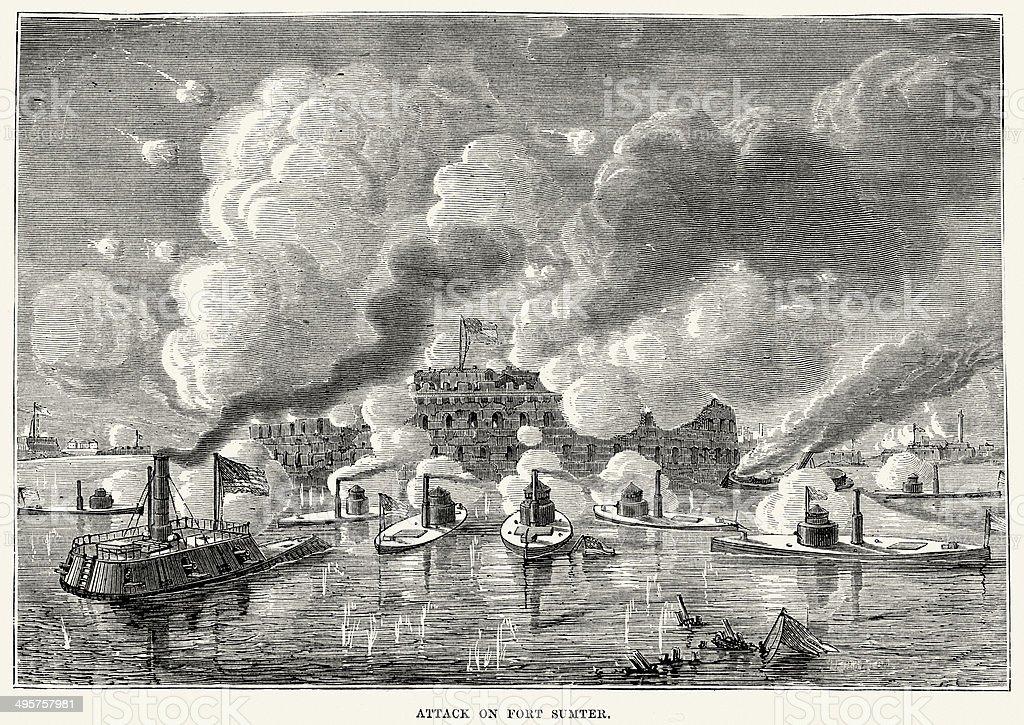 American Civil War - Attack on Fort Sumter vector art illustration