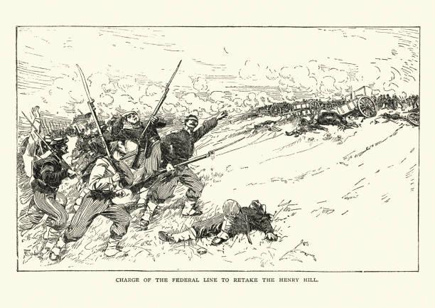 American Civil War - Battle of Bull Run, Union Charge vector art illustration