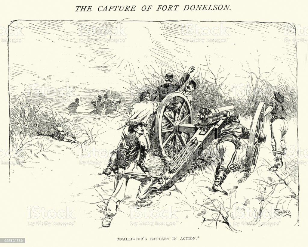 American Civil War, Battle of Fort Donelson vector art illustration