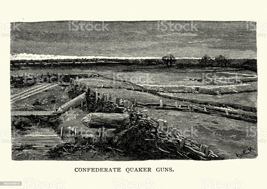 American Civil War Battlefield of Bull Run, Confederate Quaker Guns vector art illustration