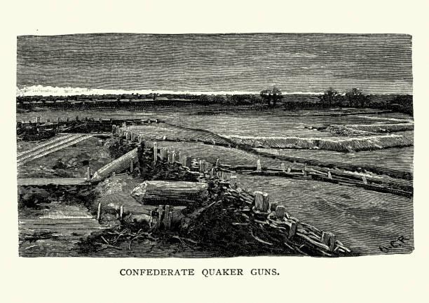 American Civil War Battlefield of Bull Run, Confederate Quaker Guns vector art illustration