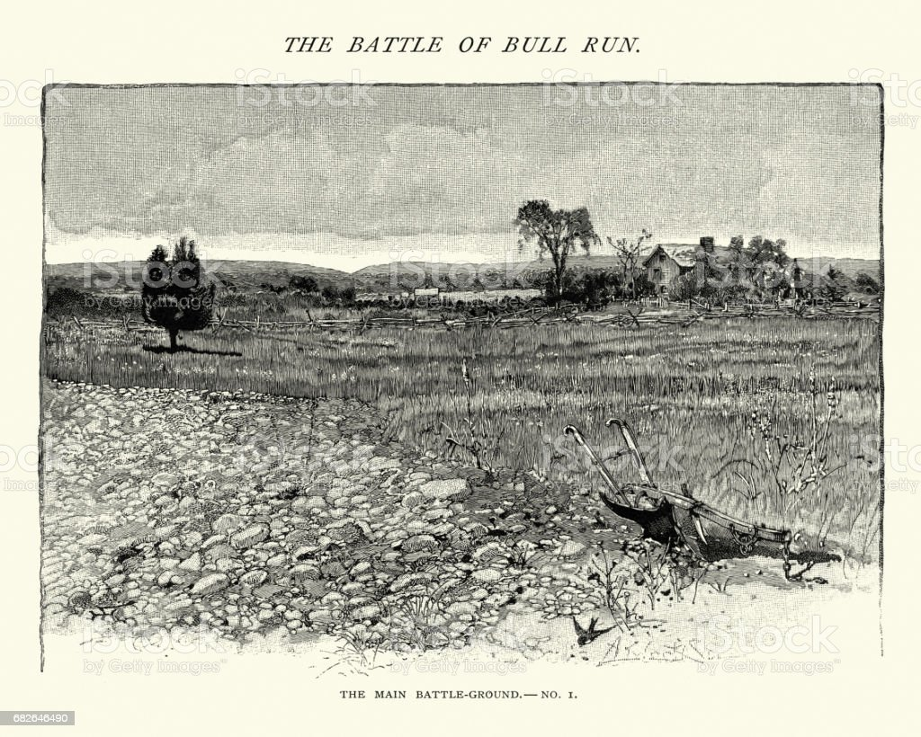 American Civil War - Battlefield of Bull Run, Henry House vector art illustration
