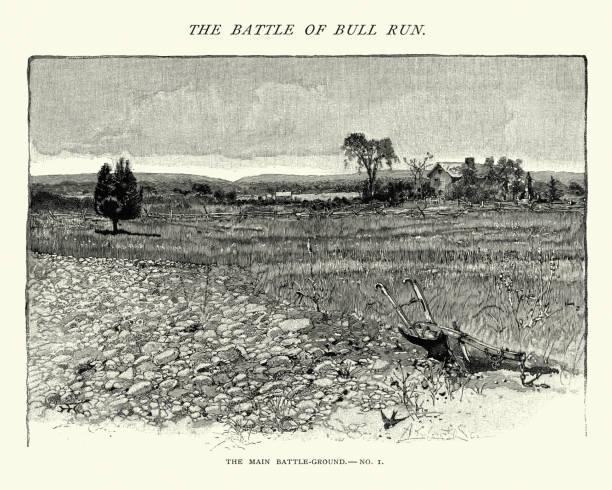 American Civil War - Battlefield of Bull Run, Henry House vector art illustration