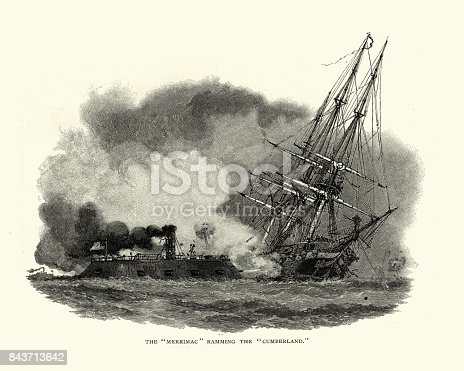 Vintage engraving of a scene from the American Civil War, the ironcald CSS Virginia ramming the USS Cumberland. Cumberland was rammed and sunk in an engagement with the Confederate ironclad CSS Virginia (formerly USSMerrimack) at Newport News, Virginia on 8 March 1862. The engagement known as the first day of the Battle of Hampton Roads between the two ships is considered to be a turning point in the history of world naval affairs as it showed the advantage of steam-powered, armored ships over sail-powered wooden hulled ships.