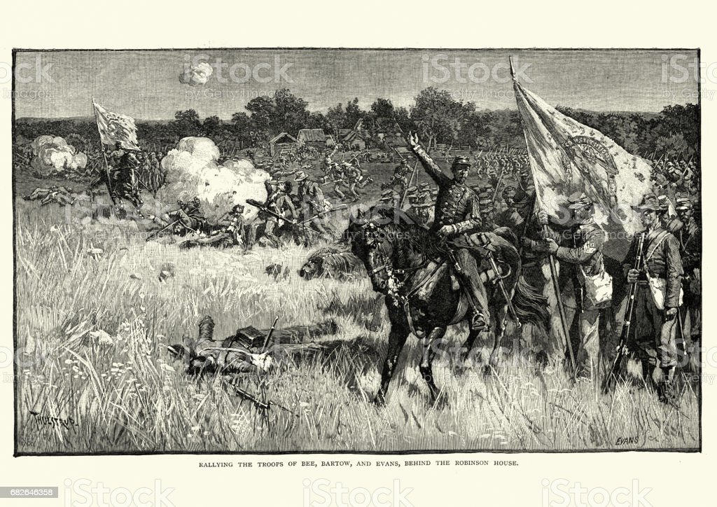 American Civil War - First Battle of Bull Run vector art illustration