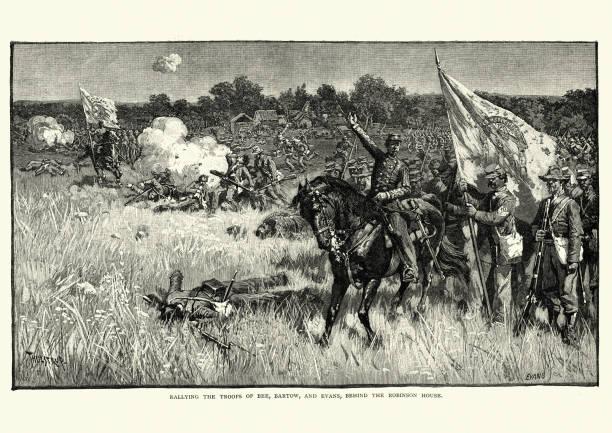 American Civil War - First Battle of Bull Run vector art illustration