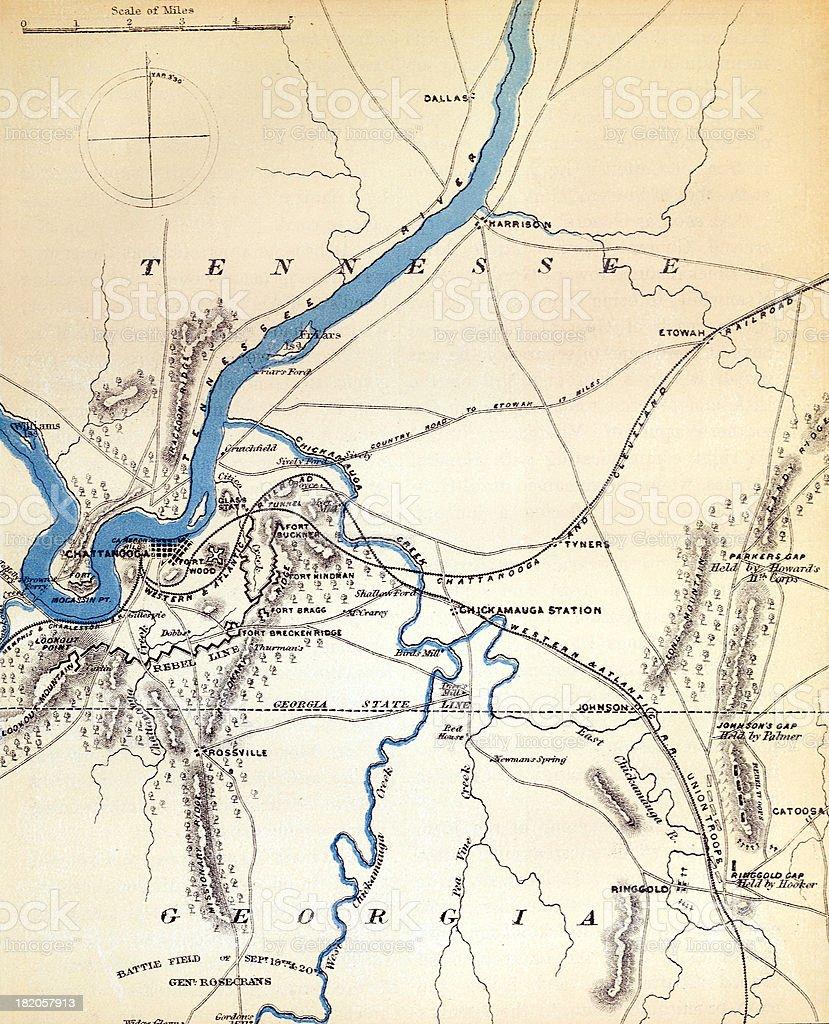 American Civil War Map vector art illustration